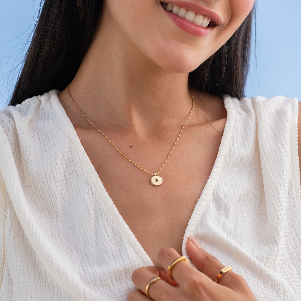 Small Circle Initial Necklace with Diamond in Gold Plated - 2