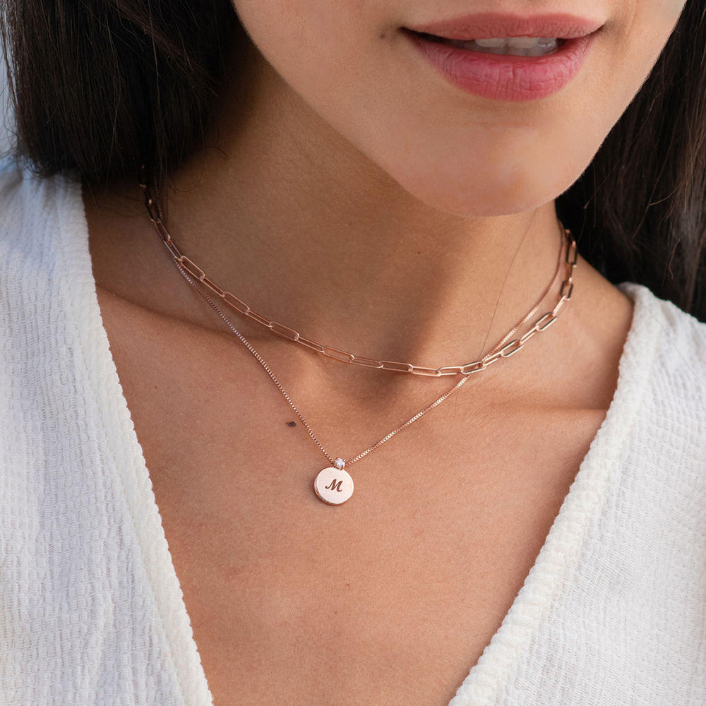 Small Circle Initial Necklace with Diamond in Rose Gold Plated - 1