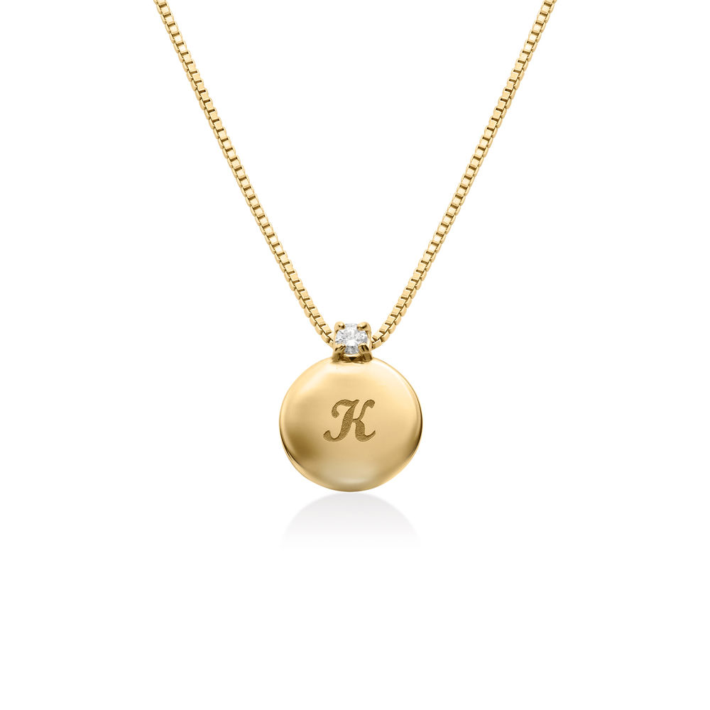 Small Circle Initial Necklace with Diamond in Gold Vermeil