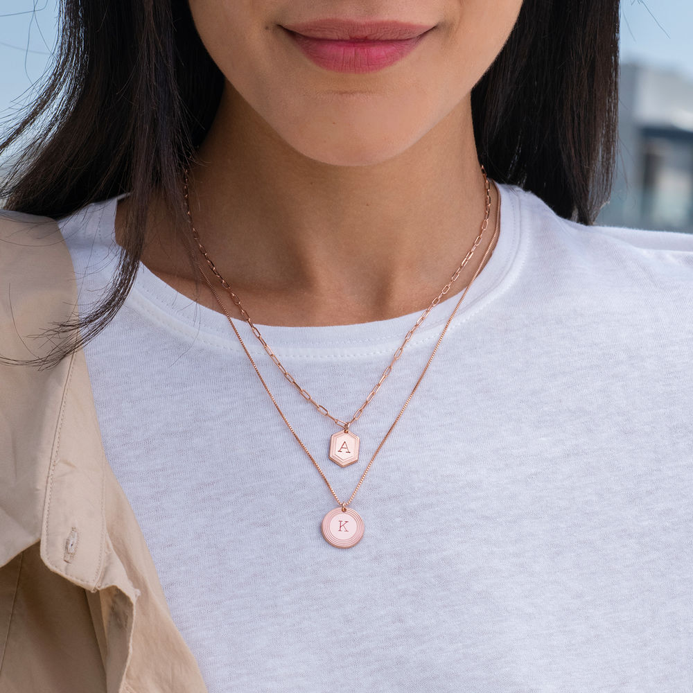 Cupola Link Chain Necklace in 18ct Rose Gold Plating - 1