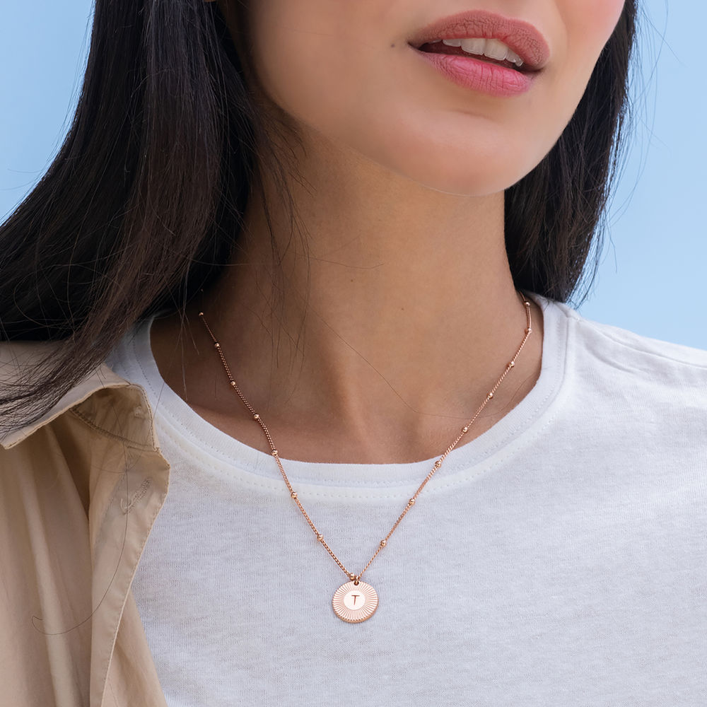 Rayos Initial Necklace in 18ct Rose Gold Plating - 1