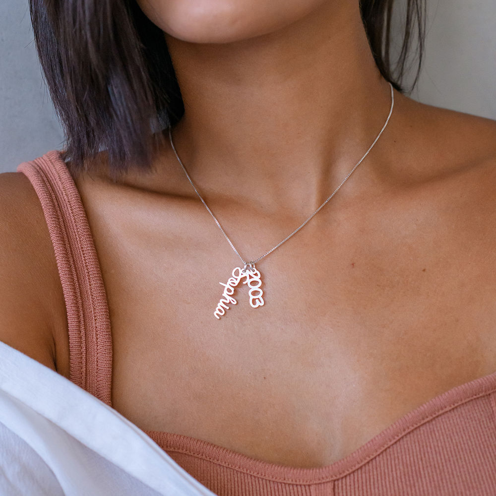 Vertical Name Necklace in Cursive in Sterling Silver  - 4