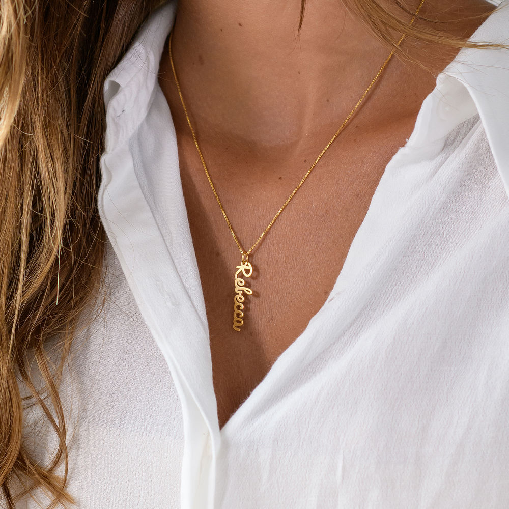 Vertical Name Necklace in Cursive in Gold Plated  - 2