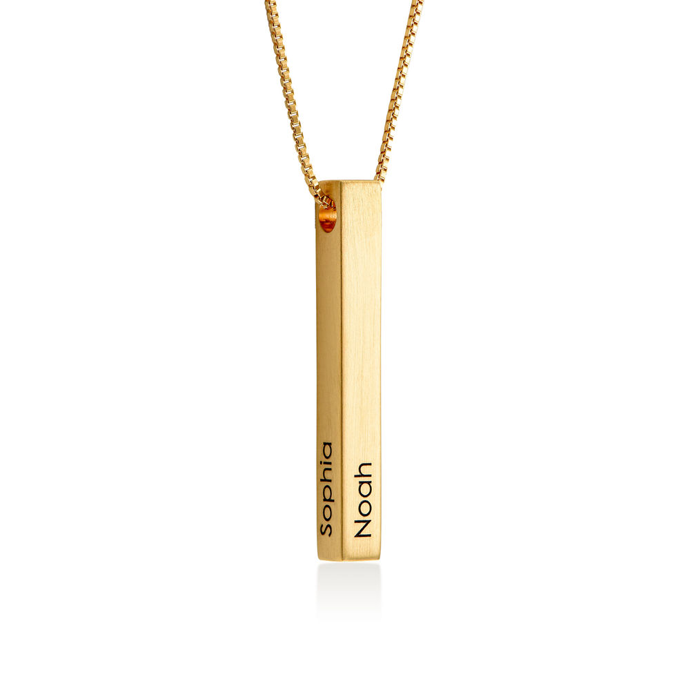Custom 3D Bar Necklace Matte - Gold Plated