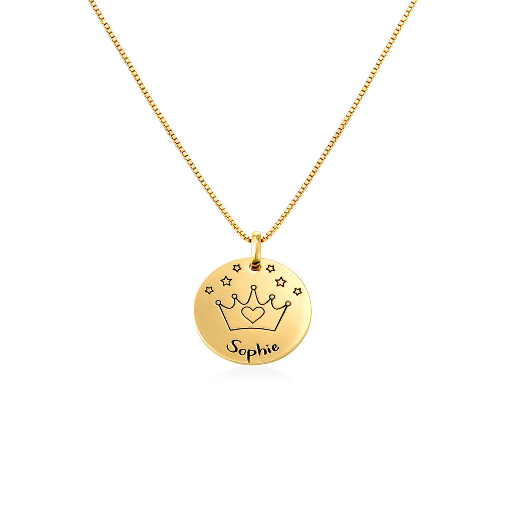 Kids Drawing Disc Necklace in 18K Gold Plating - 1