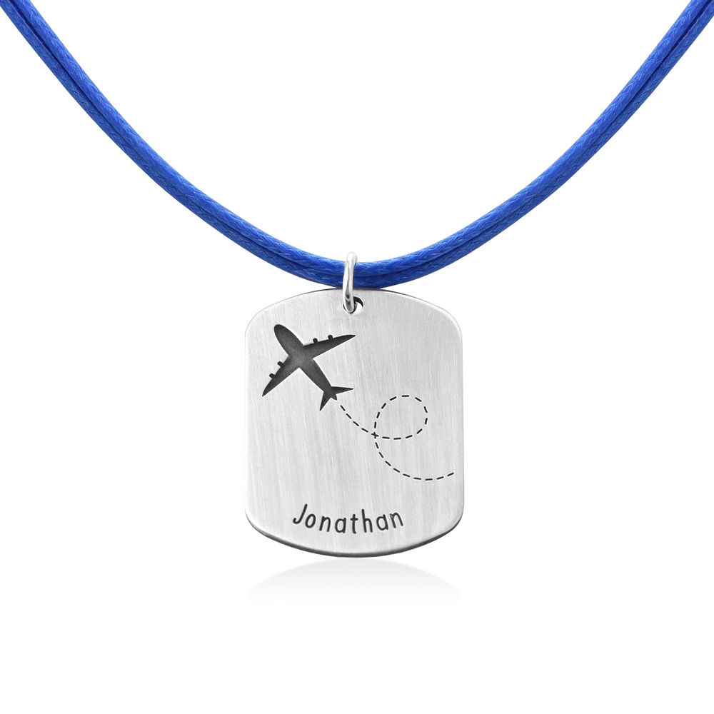Airplane Personalized Dog Tag in Sterling Silver