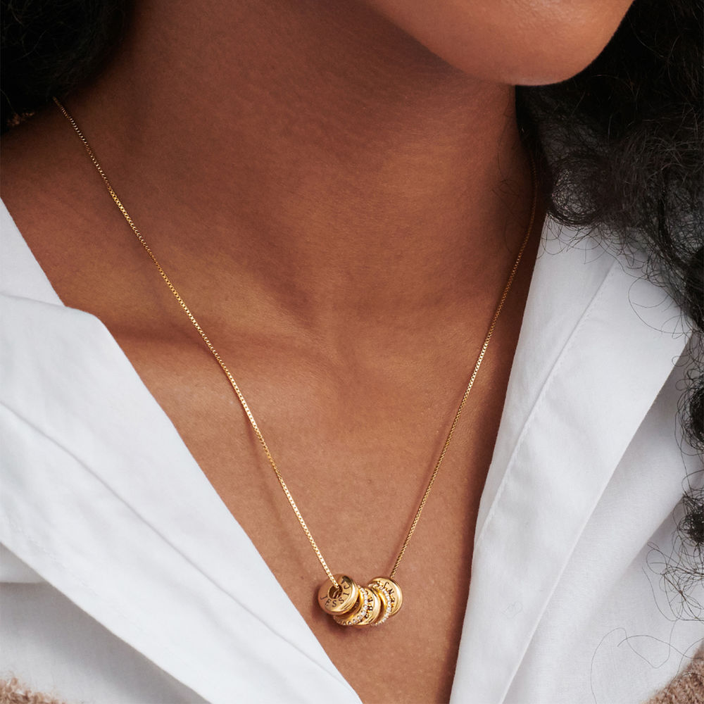 Custom Engraved Beads Necklace in Gold Vermeil - 2