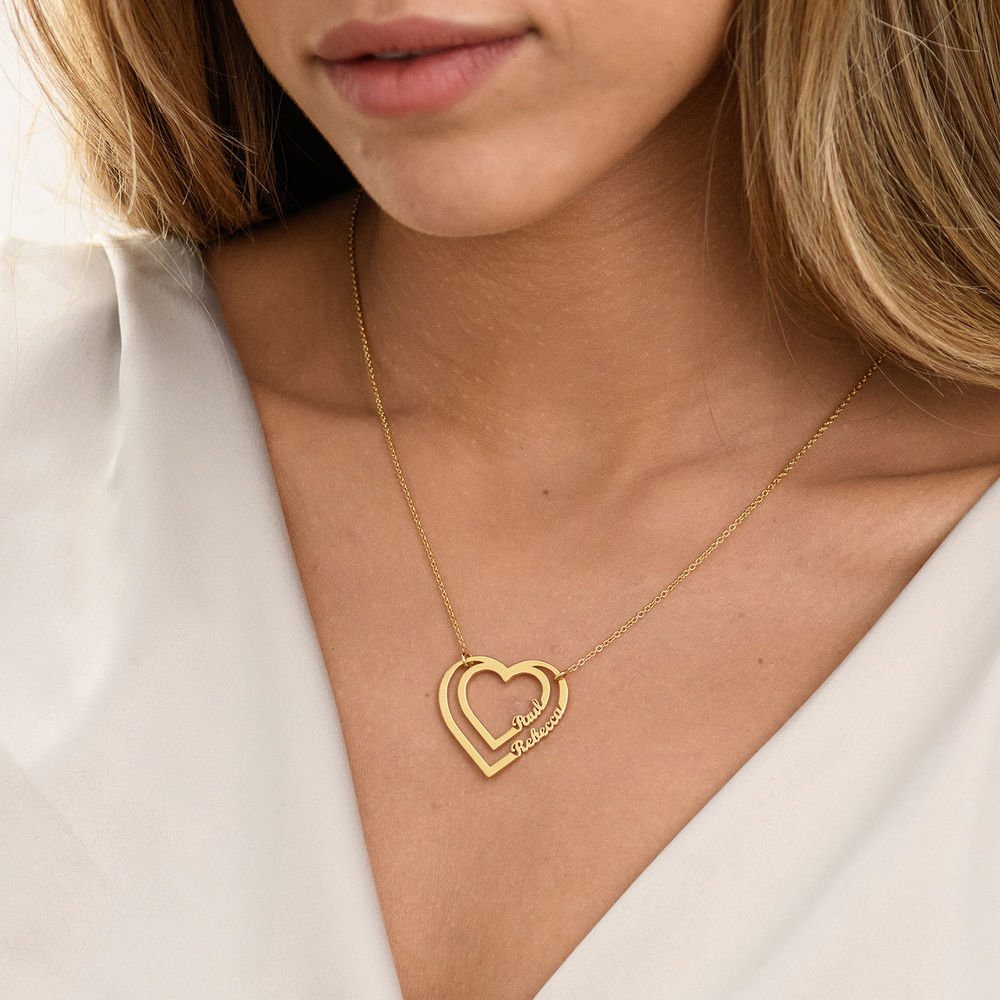 Personalized Heart Necklace with Two Names in Gold Vermeil - 2