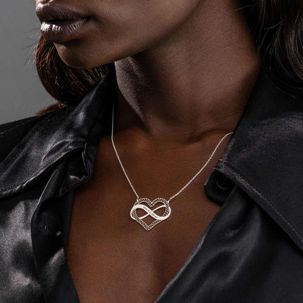 Engraved Heart Infinity Necklace in Sterling Silver - 2