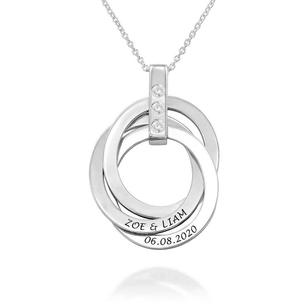 Russian Ring Necklace with Birthstones in Sterling Silver - 1