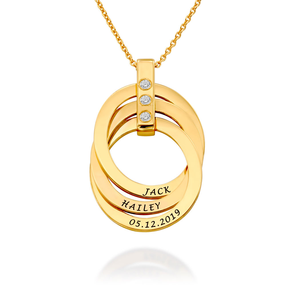 Russian Ring Necklace with Birthstones in Gold Plating - 1