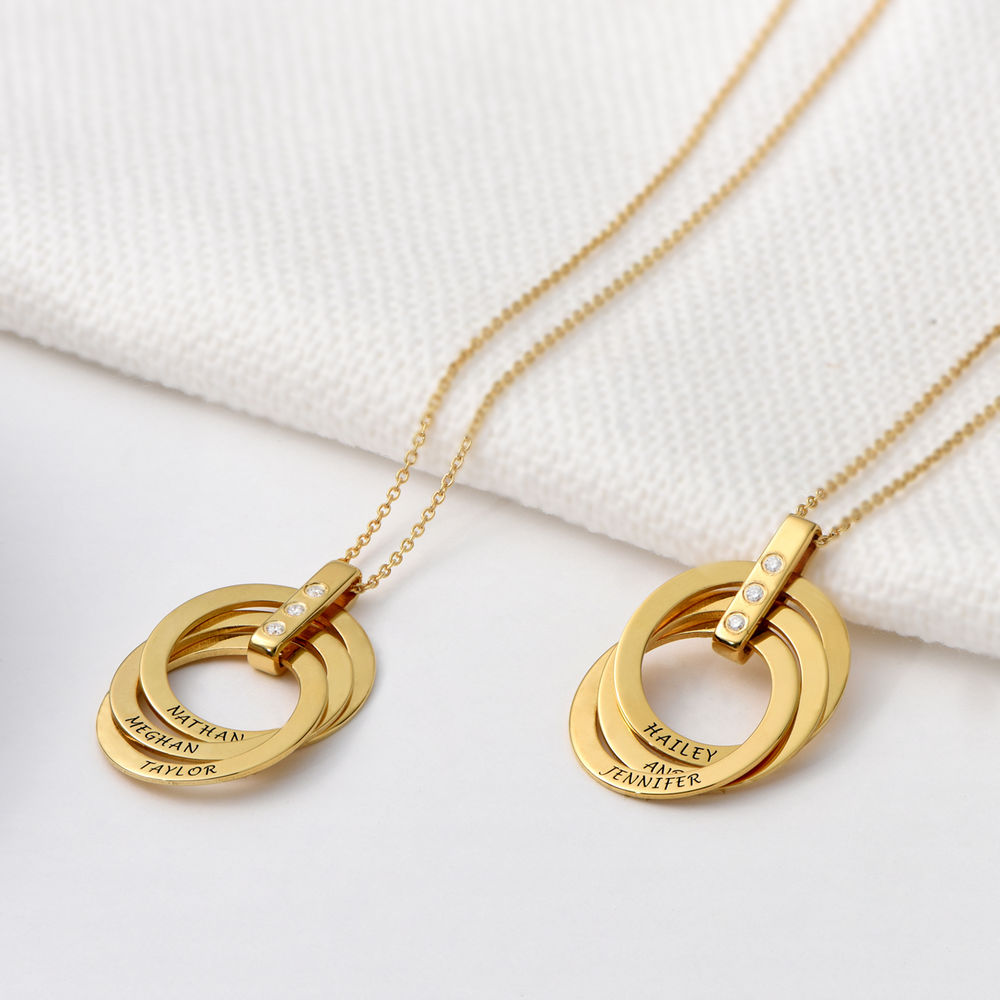 Russian Ring Necklace with Diamonds in Gold Plating - 2