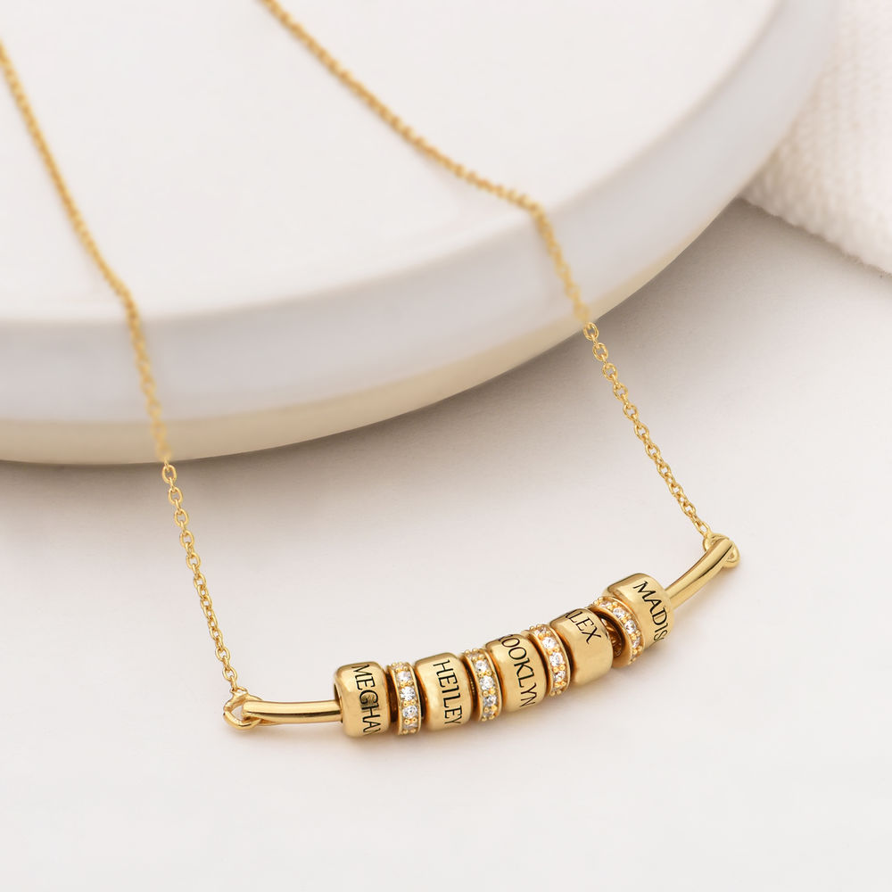 Smile Bar Necklace with Custom Beads in Gold Vermeil - 1