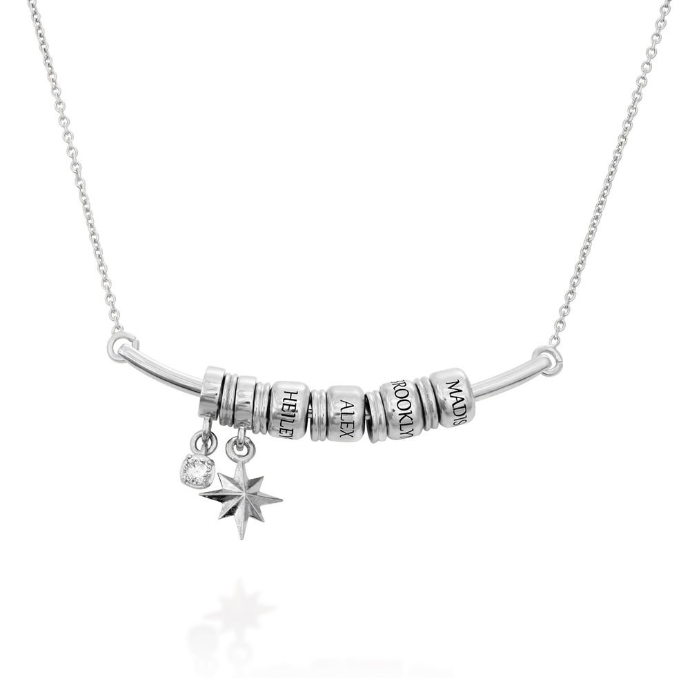 North Star Smile Bar Necklace with Diamond in Sterling Silver