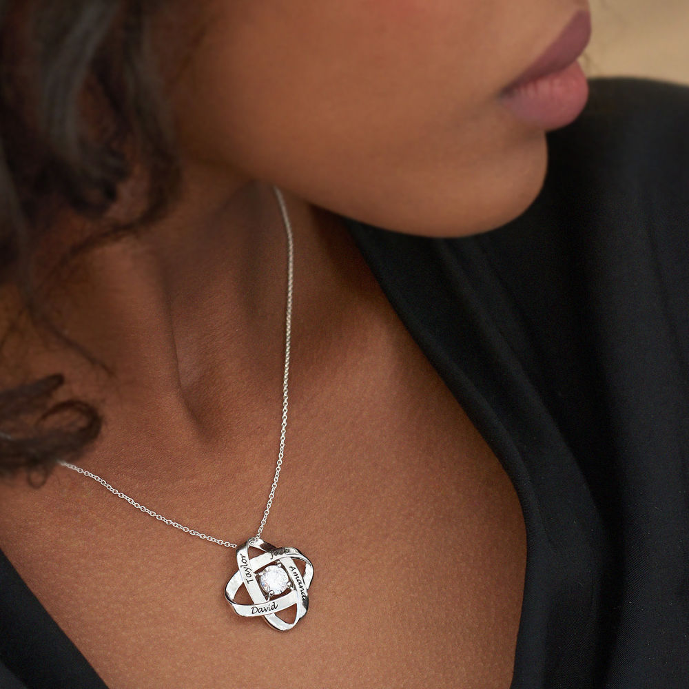 Engraved Eternal Necklace with Cubic Zirconia in Sterling Silver - 3