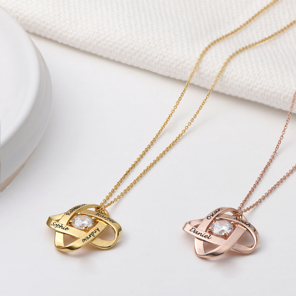 Engraved Eternal Necklace with Cubic Zirconia in Rose Gold Plating - 1