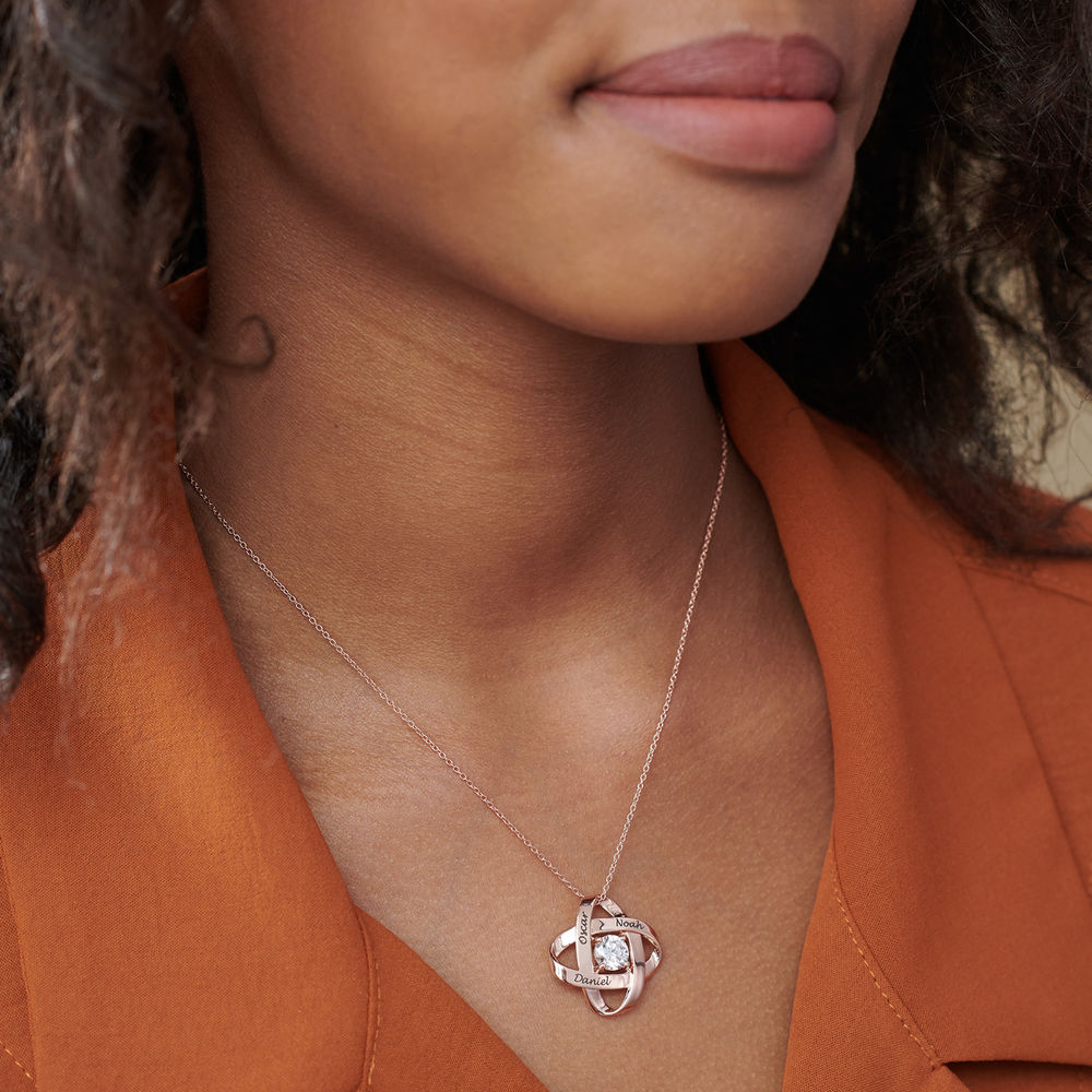 Engraved Eternal Necklace with Cubic Zirconia in Rose Gold Plating - 3