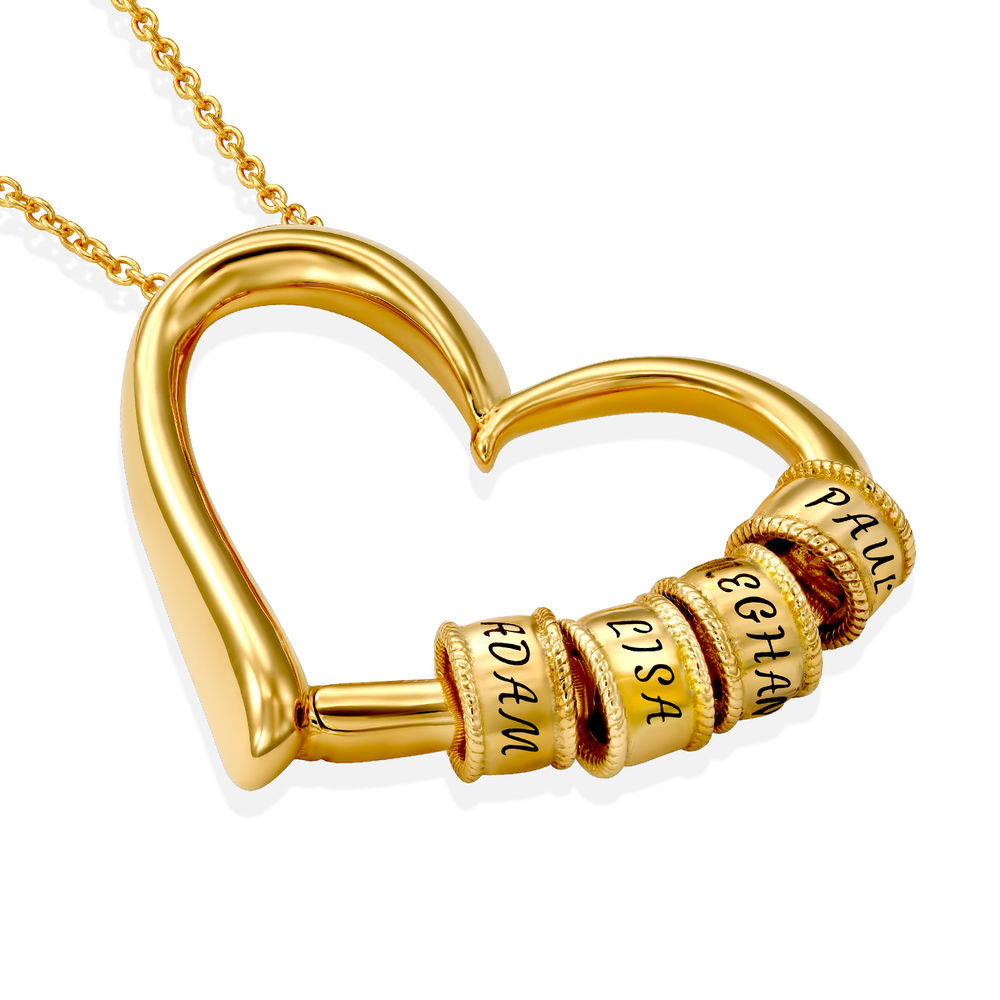 Sweetheart Necklace with Engraved Beads in Gold Vermeil - 1