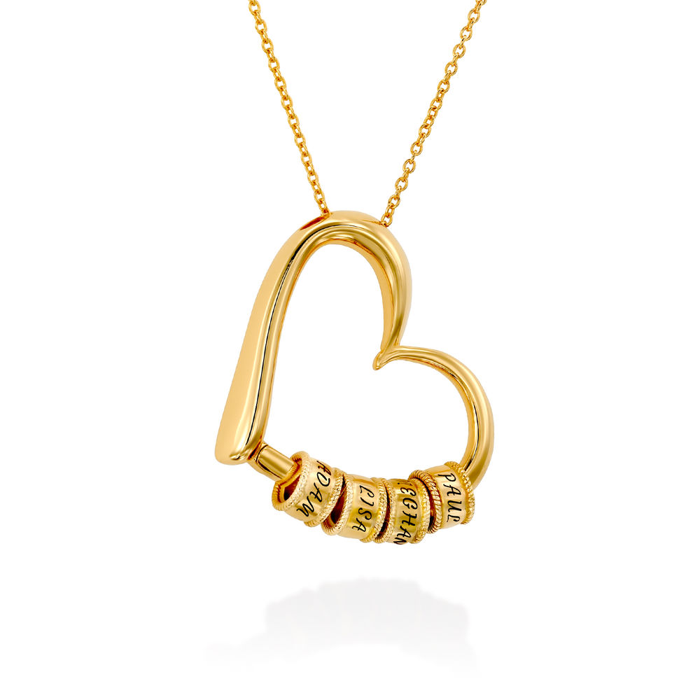 Sweetheart Necklace with Engraved Beads in Gold Vermeil - 2