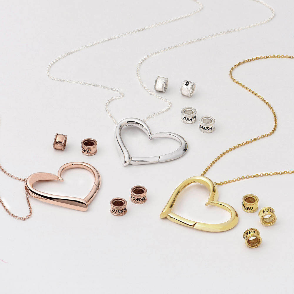 Sweetheart Necklace with Engraved Beads in Gold Vermeil - 3