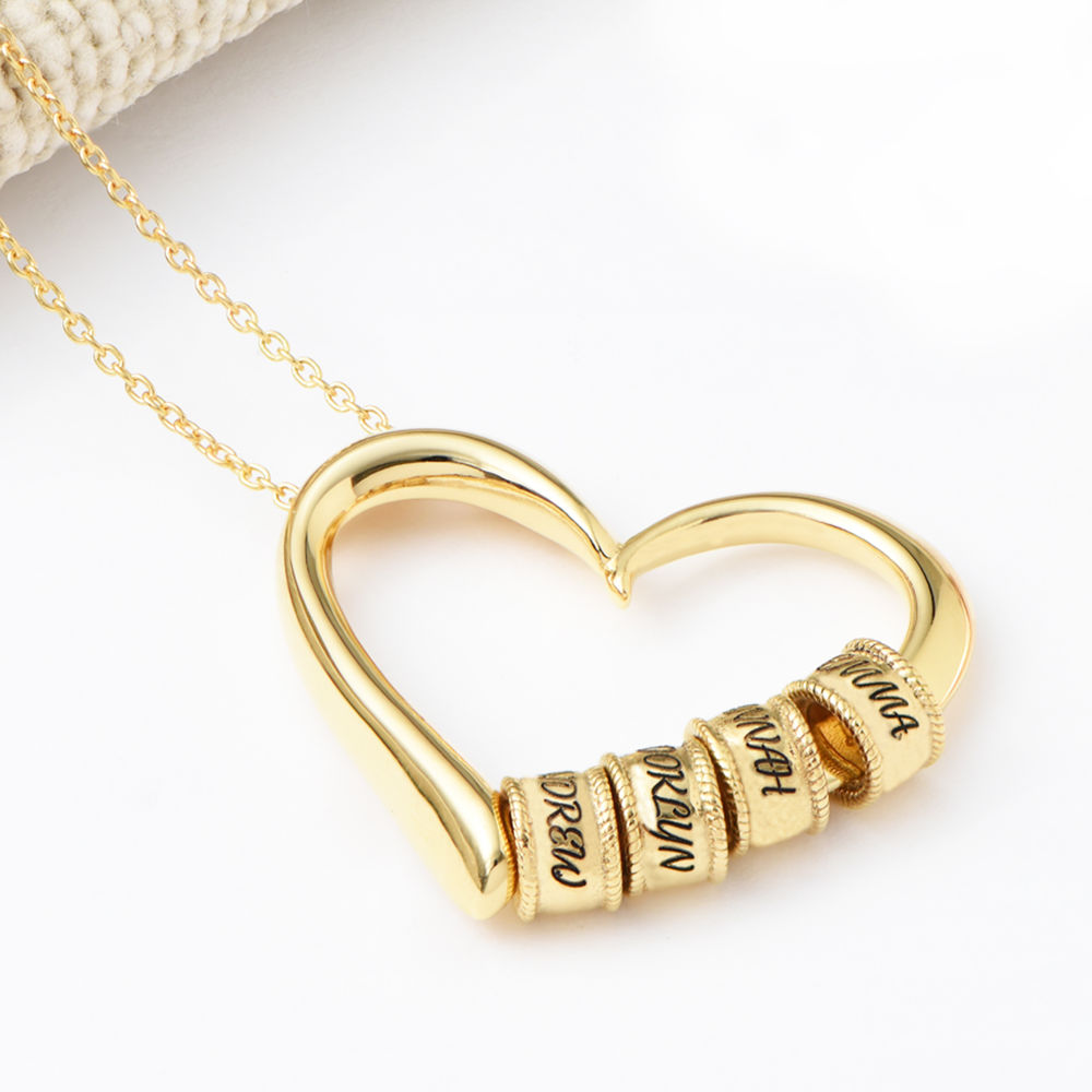Sweetheart Necklace with Engraved Beads in Gold Vermeil - 4