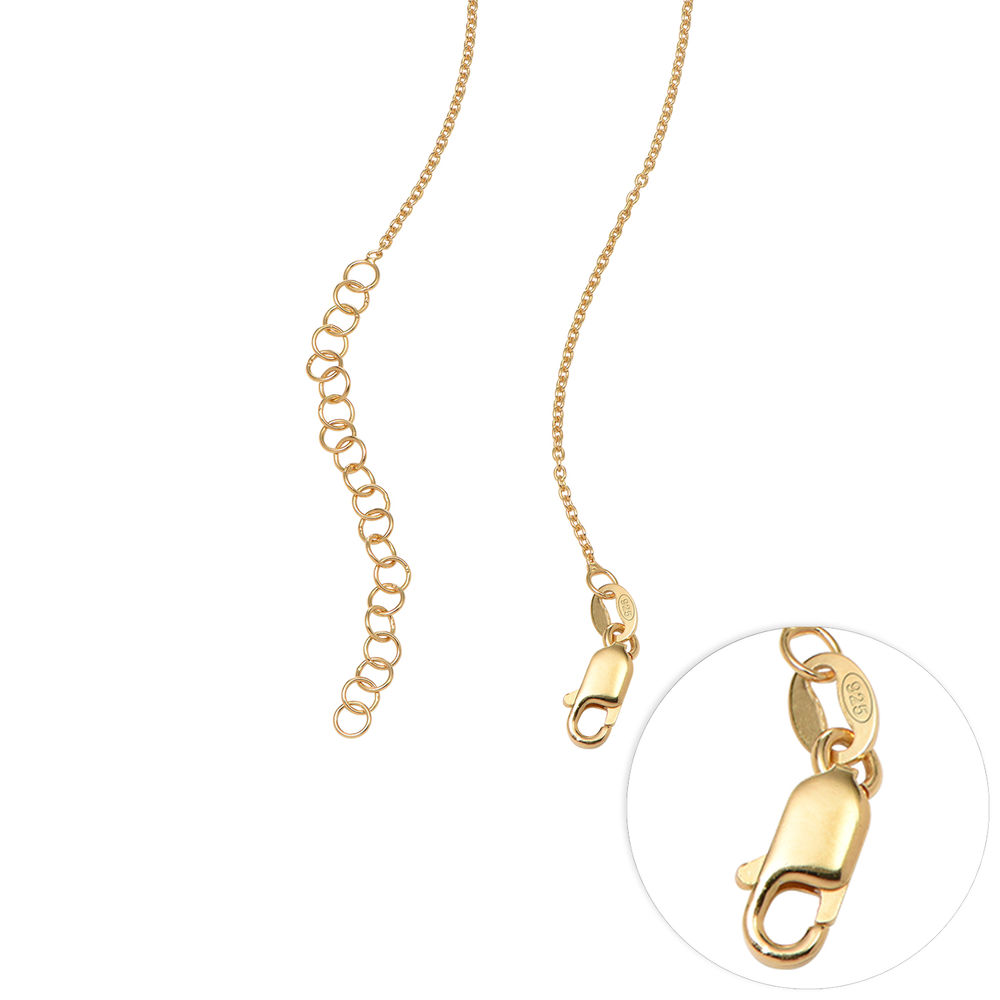 Sweetheart Necklace with Engraved Beads in Gold Vermeil - 7