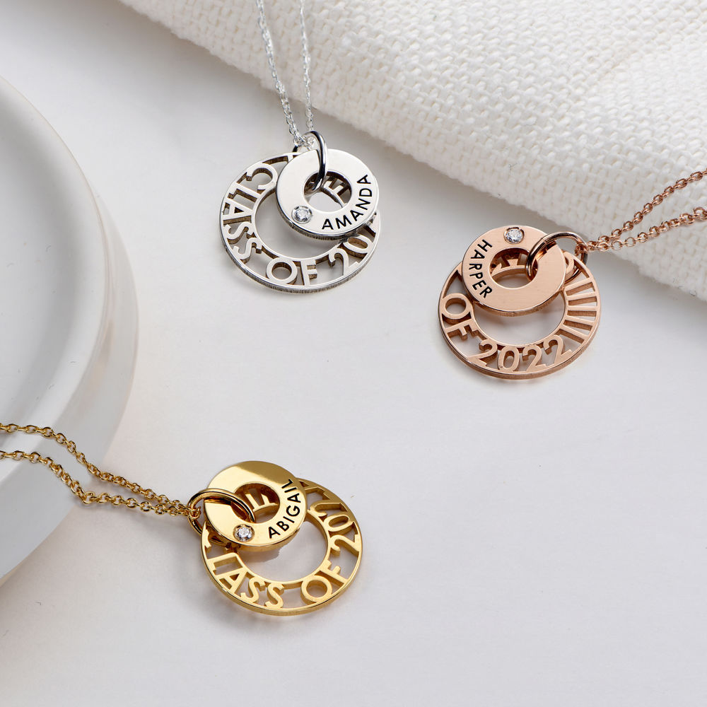 Custom Graduation Pendant Necklace with Cubic Zirconia in Gold Plating - 1