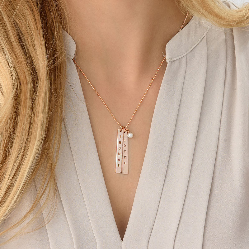 Engraved Name Tag Necklace with Freshwater Pearl - Rose Gold Plated - 3