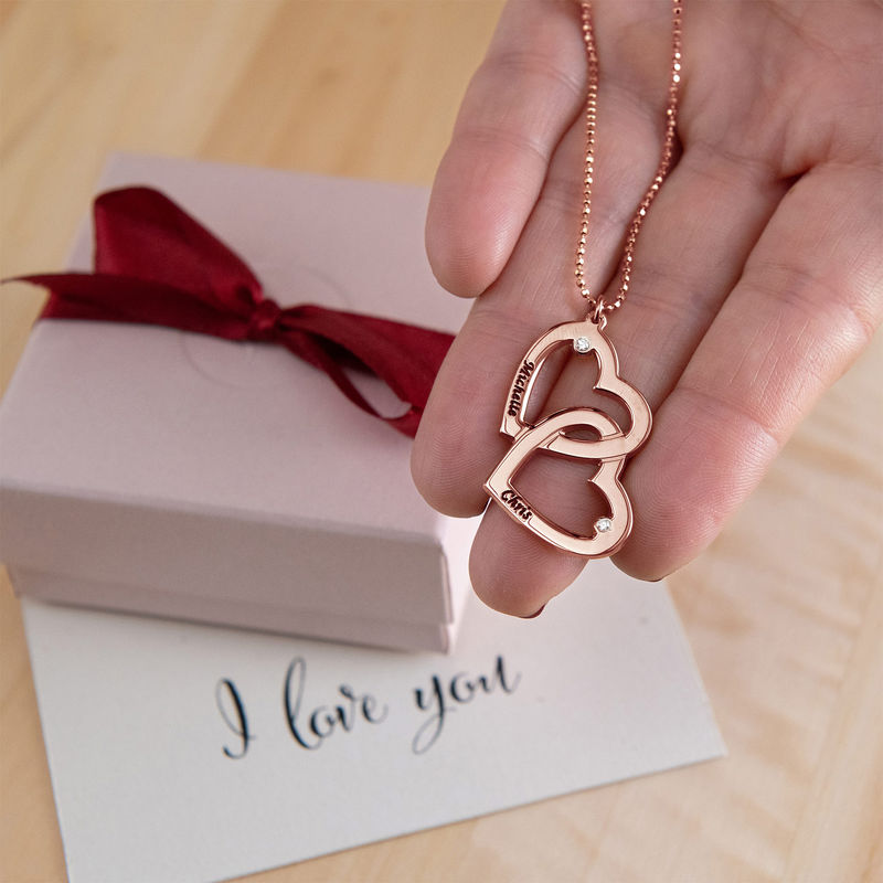 Heart in Heart Necklace in Rose Gold Plated with Diamonds - 3