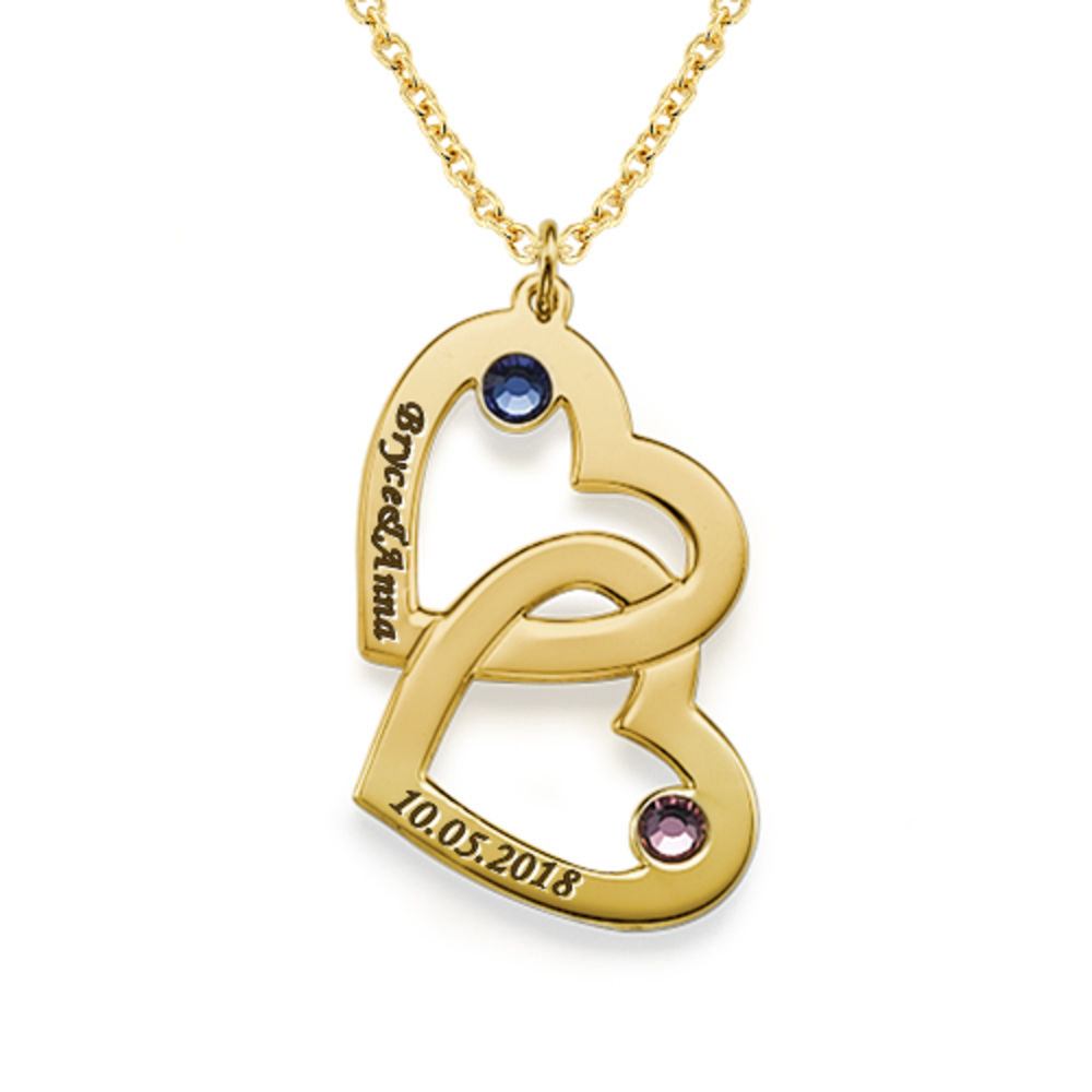 Heart in Heart Necklace with Birthstones in 18k Gold Vermeil