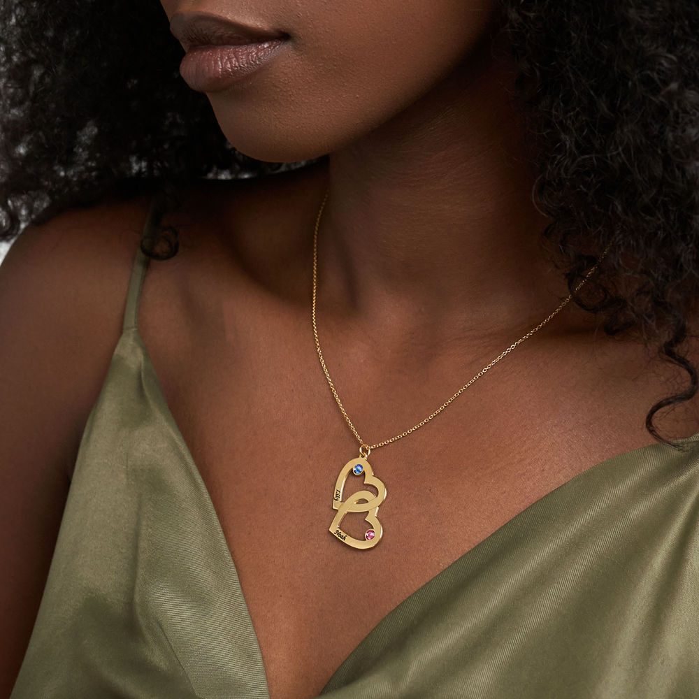 Heart in Heart Necklace with Birthstones in 18k Gold Vermeil - 2