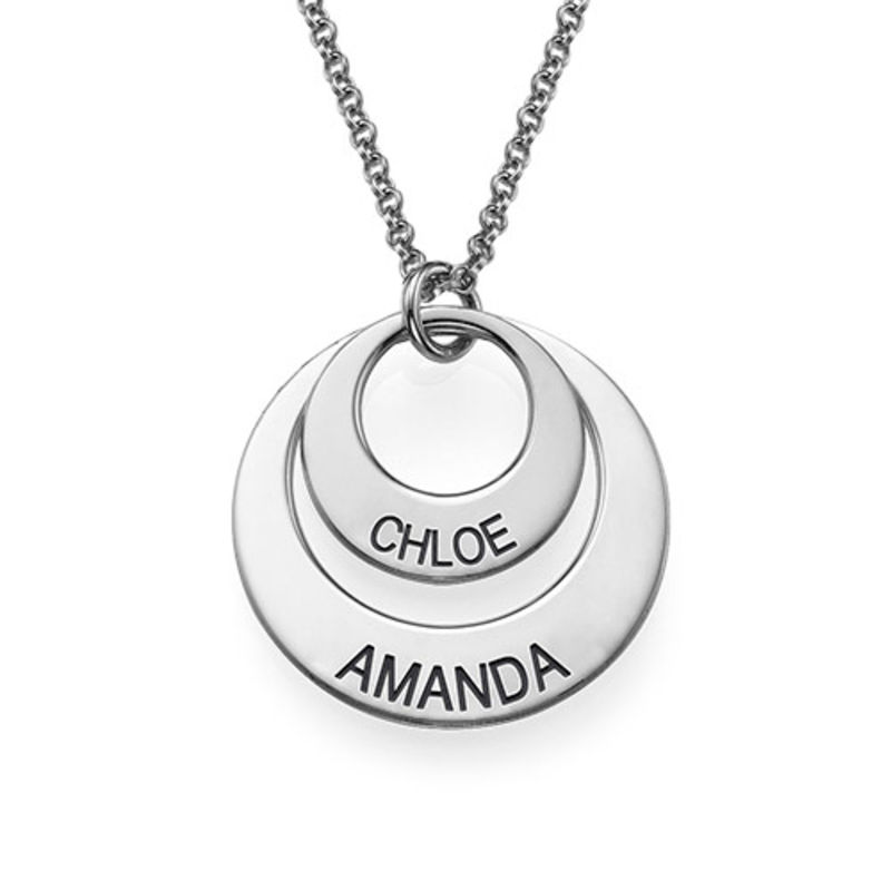 Silver Two Disc Engraved Mother's Necklace - 2