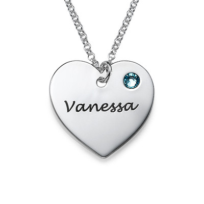 Birthstone Heart Necklace with Engraving