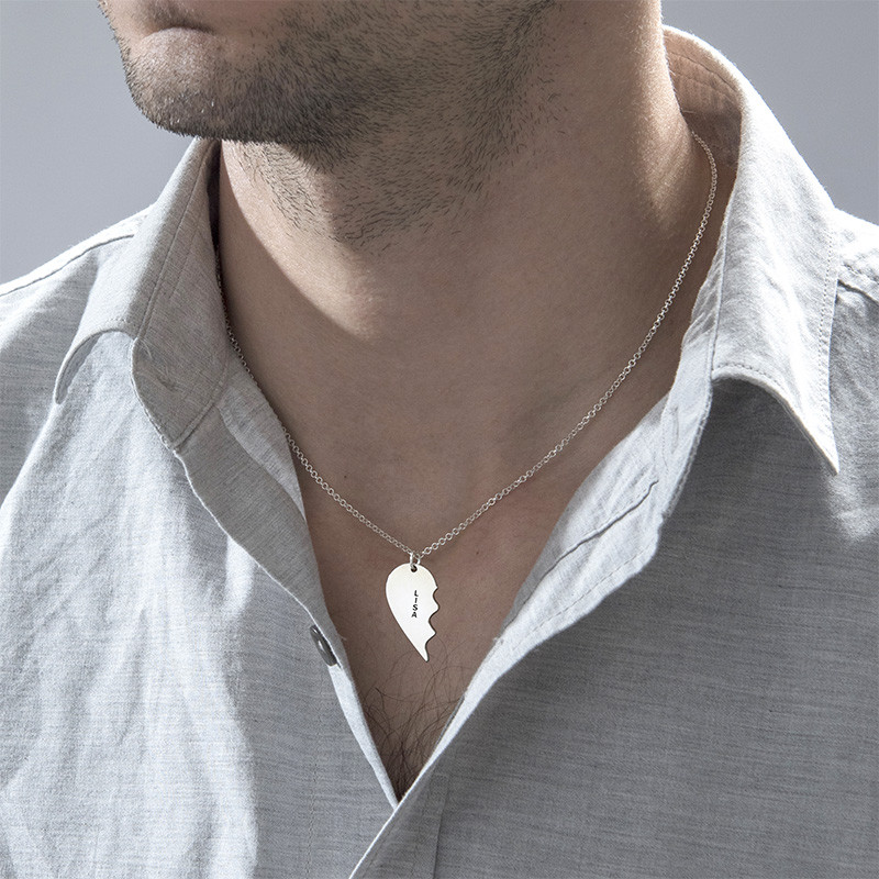 Broken Heart Necklace for Couples in Silver - 3