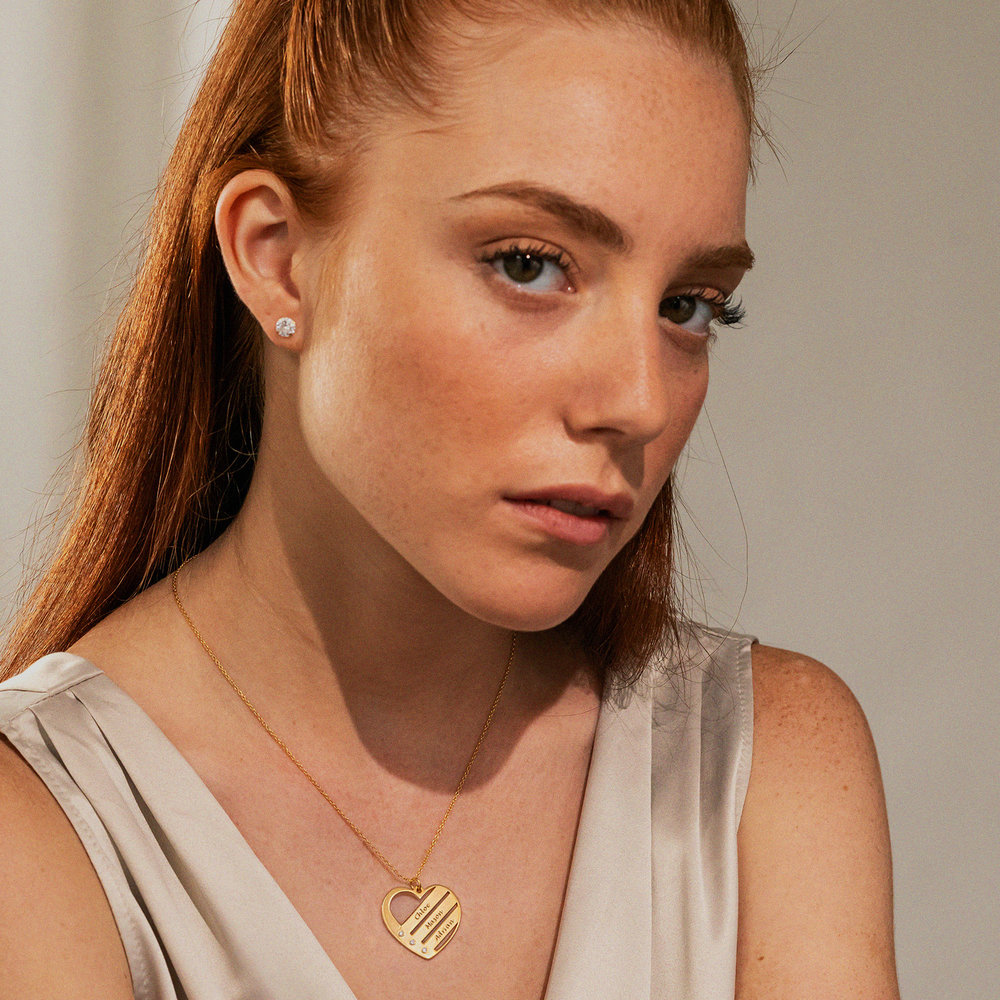 Birthstone Heart Necklace with Engraved Names with Diamond in Gold Plating  - 2