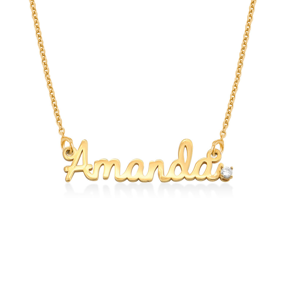 Cursive Name Necklace in Gold Plating with Diamond