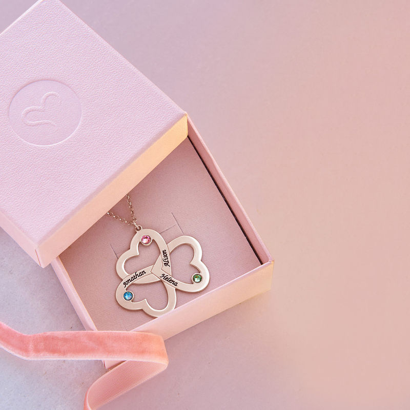 Personalised Triple Heart Necklace with Rose Gold Plating - 4