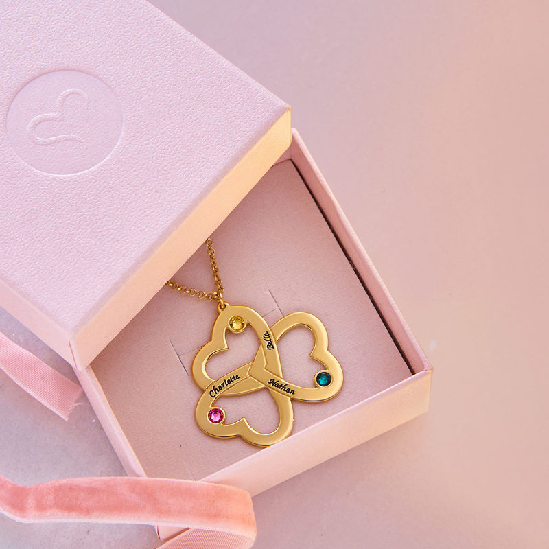 Personalised Triple Heart Necklace in 18ct Gold Vermeil - 3