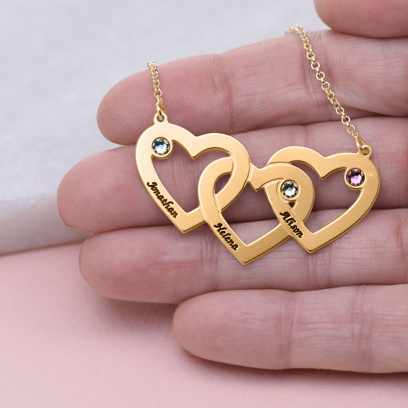 Intertwined Hearts Necklace with Birthstones in 18ct Gold Vermeil - 4