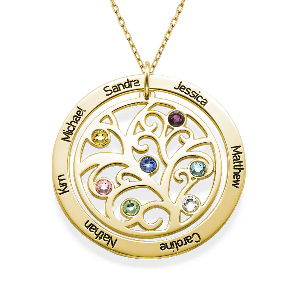 Family Tree Birthstone Necklace - 10ct Yellow Gold - 1