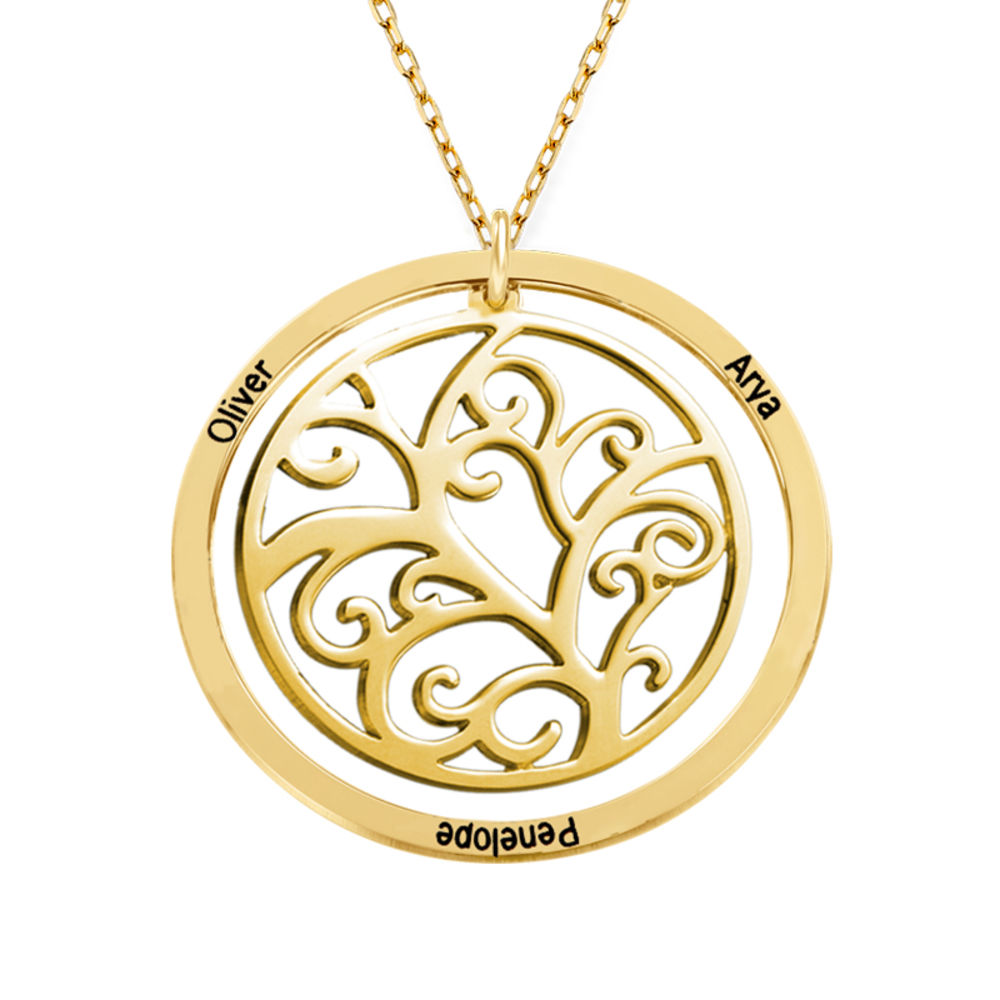 Family Tree Birthstone Necklace - 10ct Yellow Gold - 2