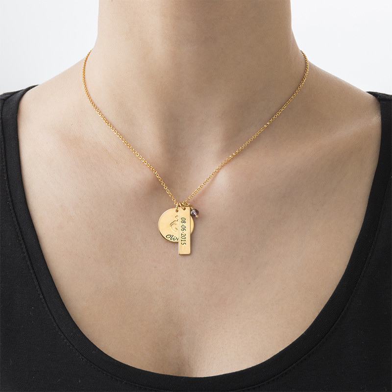 Mum Jewellery - Baby Feet Charm Necklace with Gold Plating - 2