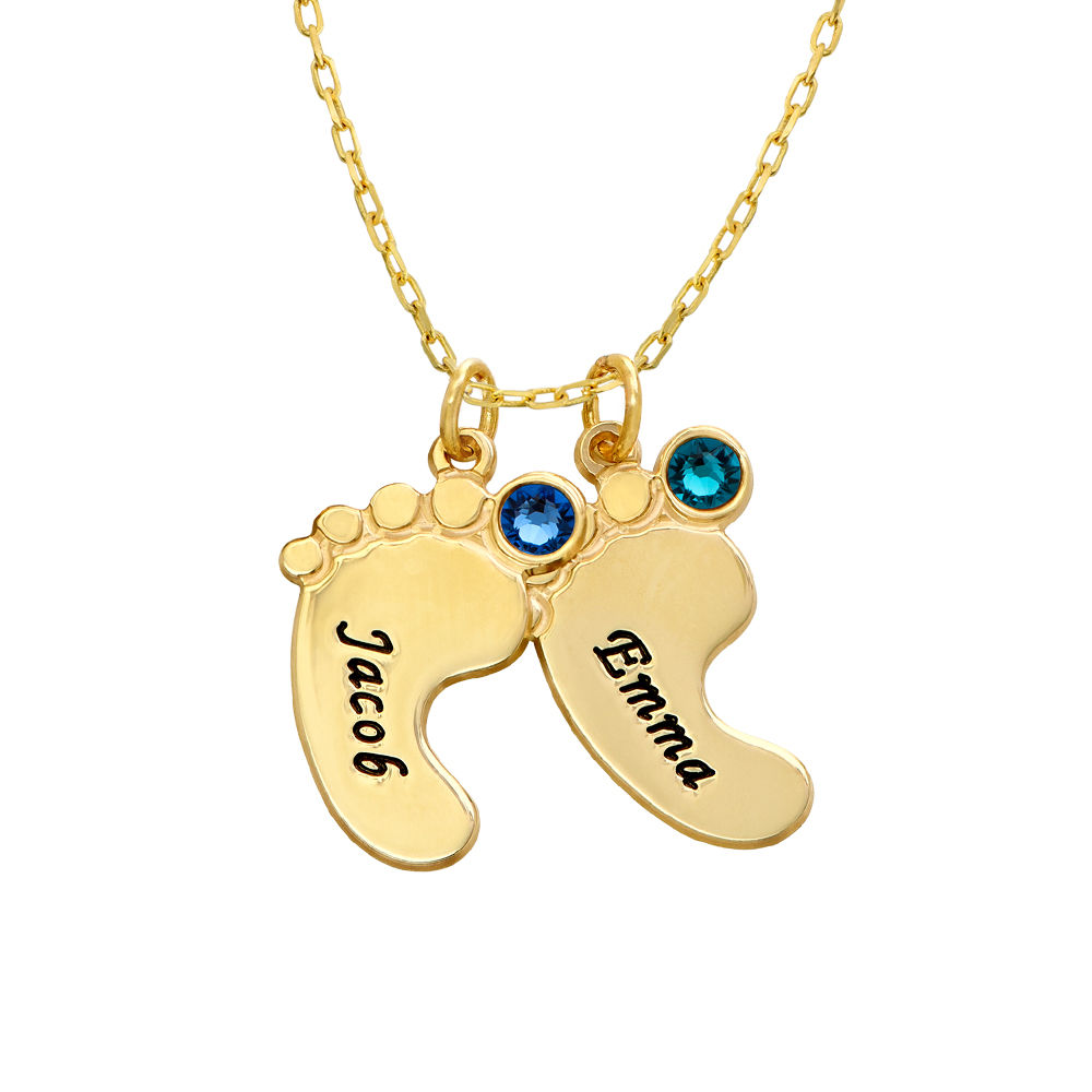 Mum Jewellery - Baby Feet Necklace In 10ct Yellow Gold - 2