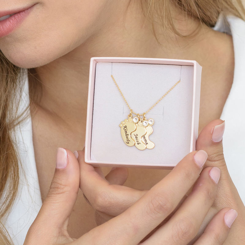 Mum Jewellery - Baby Feet Necklace In 10ct Yellow Gold - 6
