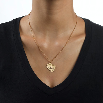 Engraved Baby Feet Necklace in 18ct Gold Plating - 1