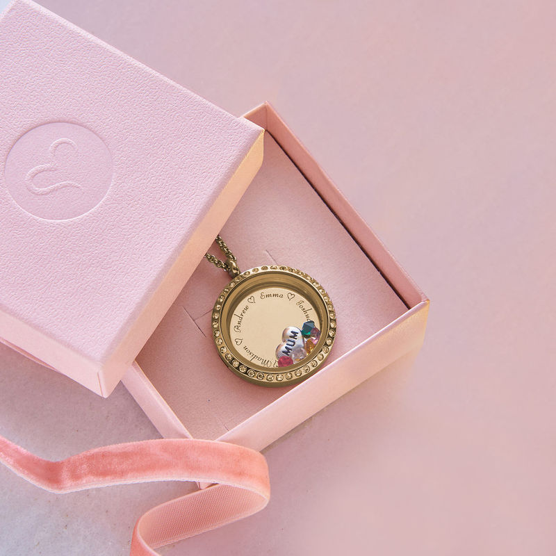 "Engraved Floating Charms Locket - ""For Mum"" with Gold Plating - 5"