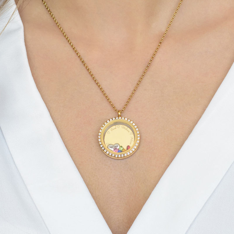 "Engraved Floating Charms Locket - ""For Mum"" with Gold Plating - 6"