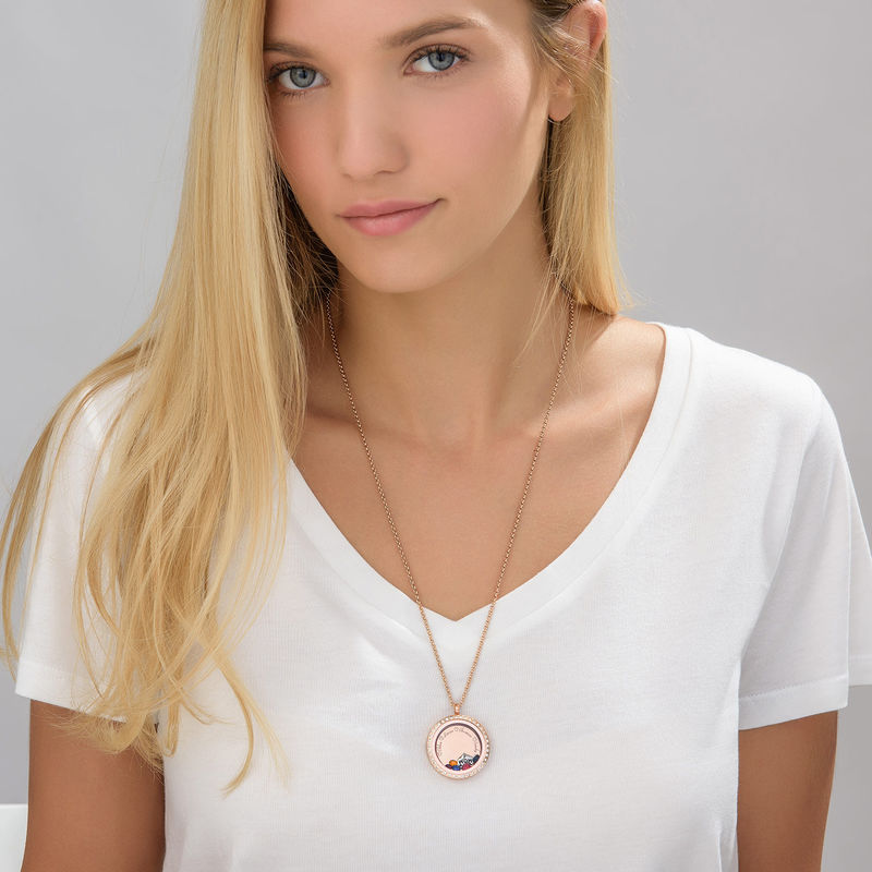 """Engraved Floating Charms Locket with Rose Gold Plating - """"For Mum"""" - 3"""