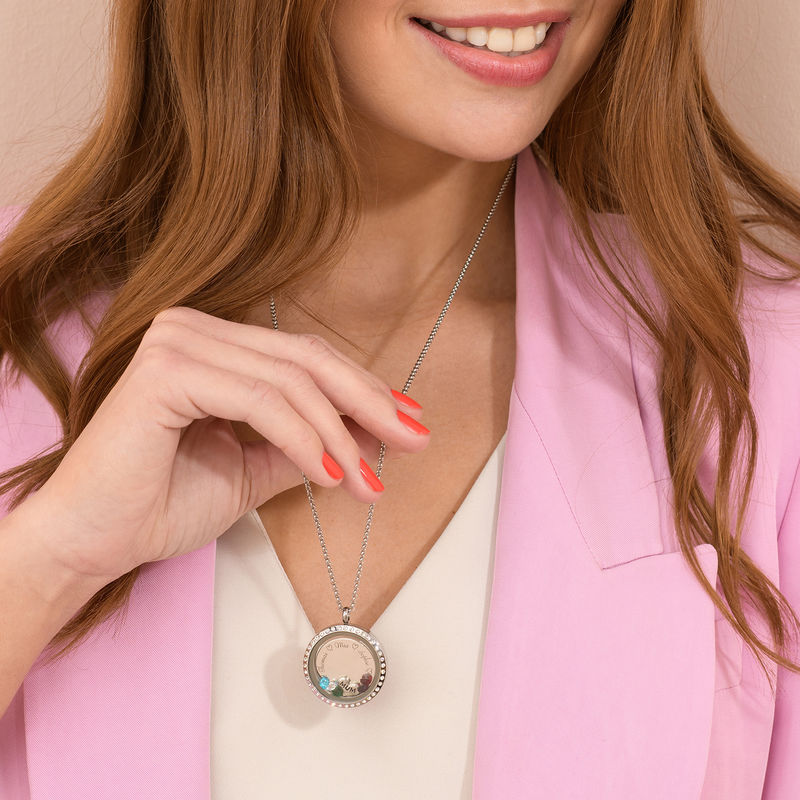 """Engraved Floating Charms Locket with Rose Gold Plating - """"For Mum"""" - 6"""