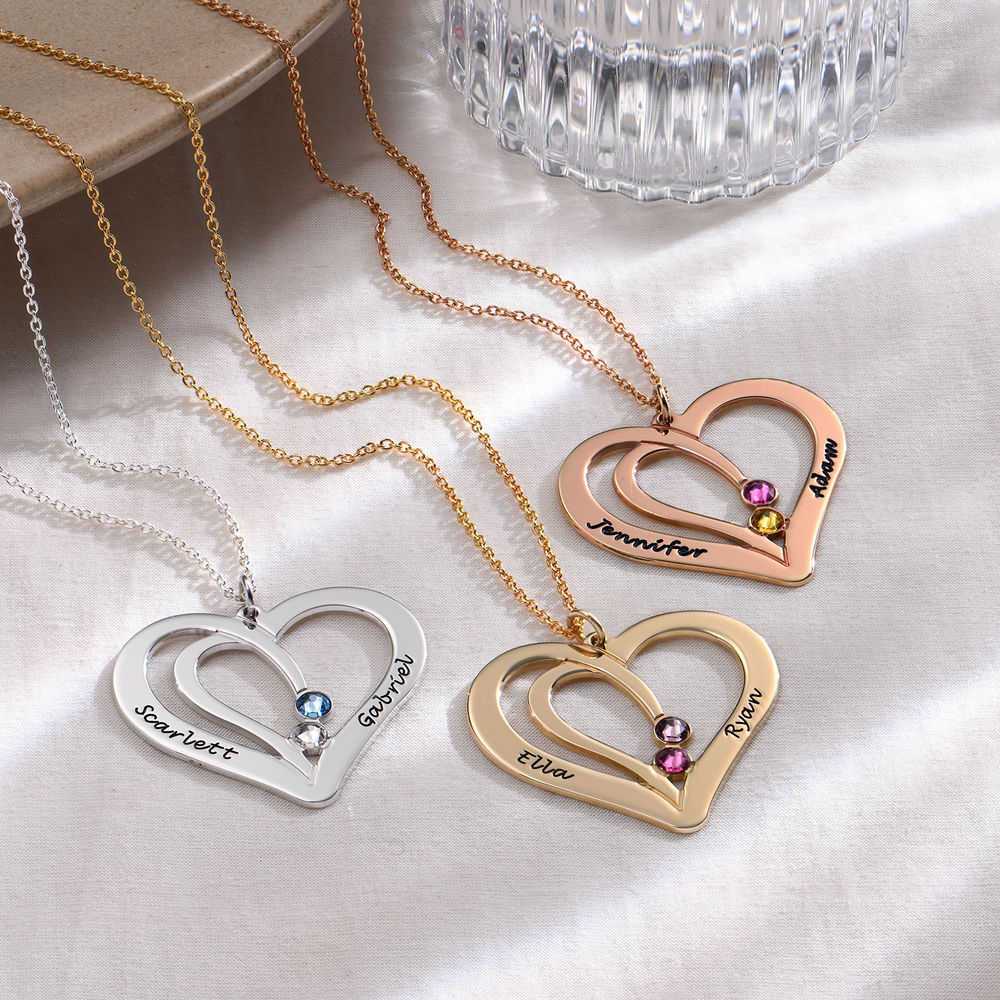 Engraved Couples Birthstone Necklace in Gold Plating - 1